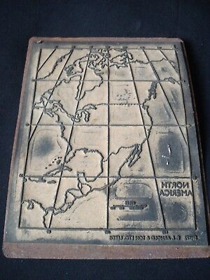 Vintage Map Printing Plate Of North America By  Arnold & Son Ltd,  Leeds