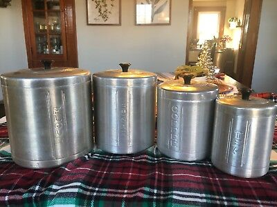 Vintage 50s Spun Aluminum Canister set of 4 flour sugar coffee tea Farmhouse