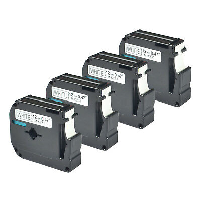 4 PK Black on White Compatible for Brother P-touch Label M231 MK231 PT-55BM 55S