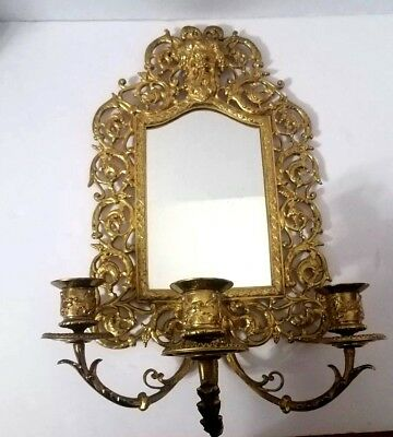 Antique Signed P. E. Guerin Victorian Ornate Brass Framed Mirror