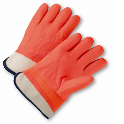 Safety Orange PVC Coated Gloves Chemical Resistant Gloves Water Resistant 1 Pair