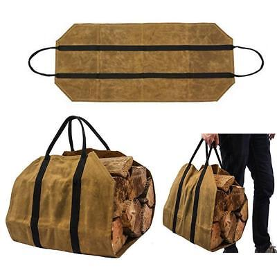 Heavy Duty Water Resistant Waxed Canvas Firewood Log Carrier Wood Holder Bag