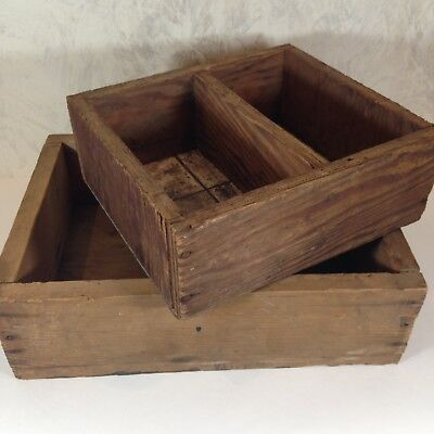 Vintage Lot 2 Boxes Wood Rustic Handmade Tile or Wood Bottom Primitive