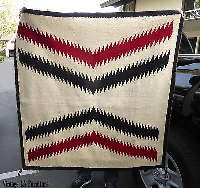 Vintage Southwestern Hand Woven Wool Area Rug Tapestry