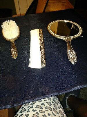 Silver plated Vintage Mirror Comb Brush Vanity Set of 3