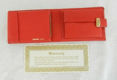 NEW Vintage Genuine Calf Leather Women's Wallet Red Expandable Clasp Made in USA