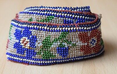 Traditional Collectible Antique Native North American Beaded Handmade Belt #15