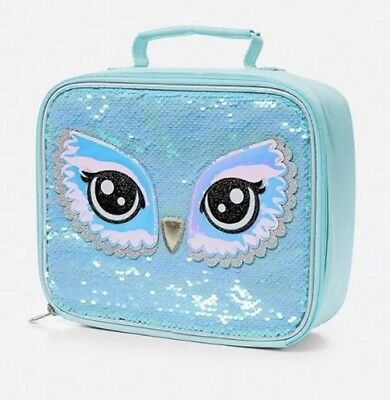 Nwt Justice Girls Owl Flip Sequin Lunch Tote Qlt1 D18