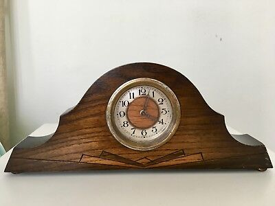Vintage German FOREIGN Napoleon Hat Style Mantel Clock in Wood