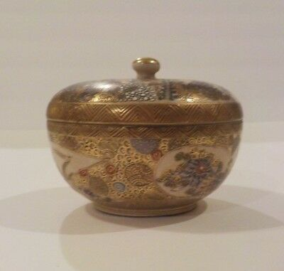 Signed 19th C. Japanese SATSUMA Miniature Lidded Dish, Meiji Period