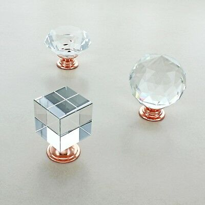 Rose Gold Copper Crystal Glass Cupboard Knobs