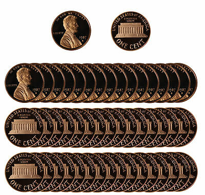 1987 Gem Proof Lincoln Cent Roll - 50 US Coins
