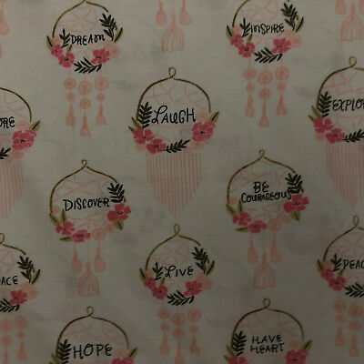 BREAST CANCER PINK RIBBONS RELAY FOR HOPE COTTON FABRIC BTHY
