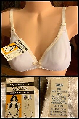 Vintage Bra Seamless Polyester 1970s Smooth White Soft Mold Adjustable Strap 36A