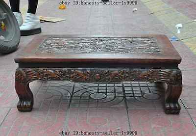 old chinese huanghuali wood carved dragon beast foo dog lion desk Tea table A