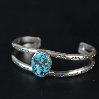 Quality Kingman turquoise sterling silver 925 cuff bracelet Native pawn jewelry