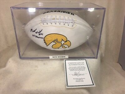 MARK WEISMAN IOWA HAWKEYES Autographed College Football #45 w COA CFL NCAA