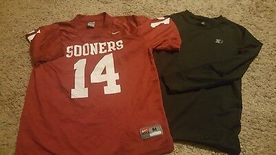 2PC Set: NIKE Oklahoma Sooners OU Football Jersey & Youth Boys XL Athletic Shirt