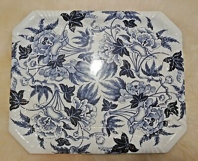 """Antique Pottery Pearlware Blue Transfer Wedgwood Peony Pattern 16"""" Platter 1879"""