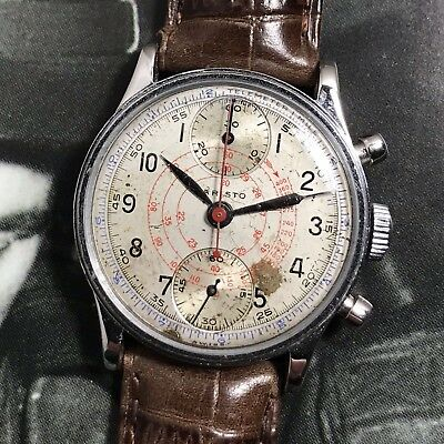 Aristo Imports WWII Vintage Military Pilot's Chronograph Watch Venus 170 As Is