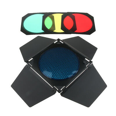 """Barn Door Honeycomb Grid with 4 Colors Filter Kit for 7"""" Standard Reflector"""