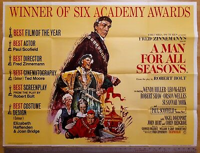 A Man For All Seasons 1967 Quad Film Poster Academy Award Version Orson Welles
