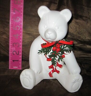 Vintage Macy's White Holiday Ceramic Teddy Bear Bank Figure w/ Tin Ribbon -new