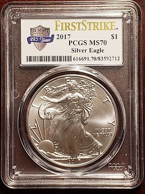 2017 1 oz Silver Eagle PCGS MS 70 First Strike US Mint 225th Anniversary Label