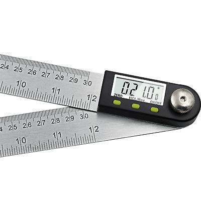 Digital Angle Finder Goniometer Stainless Steel Protractor 12'' Durable RC0638
