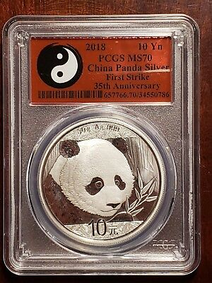2018 30 g Silver Panda PCGS MS 70 First Strike 35th Anniversary Yin Yang Label