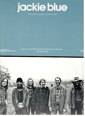 """The Ozark Mountain Daredevils """"jackie Blue"""" Sheet Music-1975-Extremely Rare-New"""