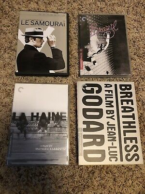 RARE Criterion Collection OOP DVD Lot Breathless, Brazil, La Haine, Le Samourai
