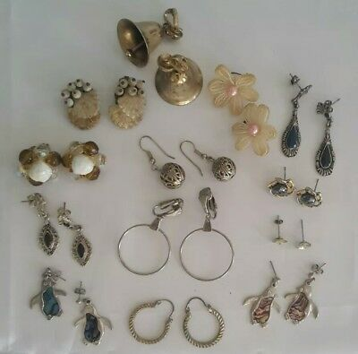 Job Lot Bundle 13 Pairs Vintage Clip On And Pierced  Earrings B1