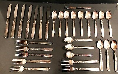 Prestige Oneida Gay Adventure Silverplate Flatware Set of 30 Vintage Pieces