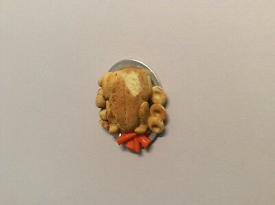 Doll's House Food Handmade Roast Chicken on a Platter 12th Scale. New.