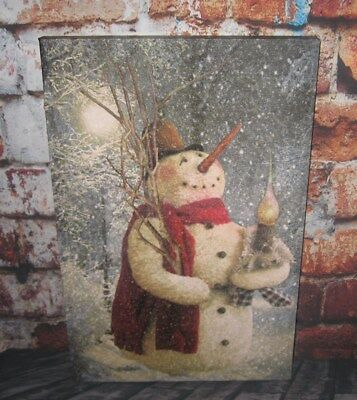 SNOWMAN Lighted Christmas PICTURE*Primitive/French Country Farmhouse Decor