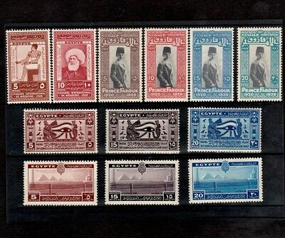 Egypt 1927-1938 Four Sets Of Commemorative Stamps Incl. Prince Farouk Birthday