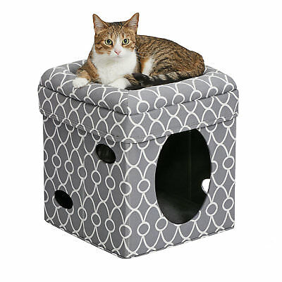 "Midwest Curious Cat Cube in Gray, 16.5"" H"