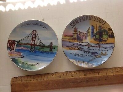 2 Vintage Hand Painted Ceramic Souvenir Plates Of San Francisco
