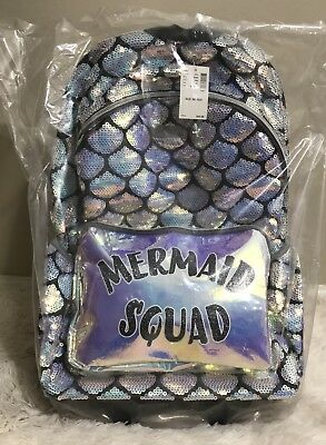 Justice MERMAID SQUAD ROLLING BACKPACK Book Bag NWT