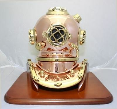 Deluxe Mark V Dive Helmet With a Wooden Base, 12