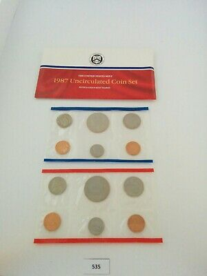 1987 P D US Mint Uncirculated Coin Set w/ Envelope  **NICE** (534)