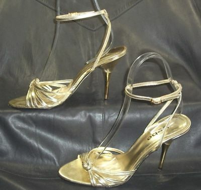 bebe gold leather open toe ankle strap sandals heels Women's shoes size 8 M