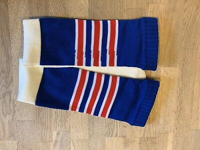 Men's Vintage Football Game Tube Socks Blue With Red Stripes