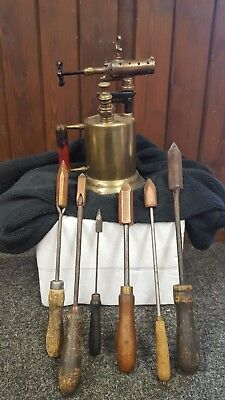 Vintage Brass Blow Torch with Old Tools  Hungerford Electric Materials Co
