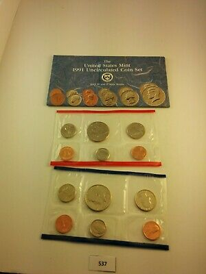1991 P D US Mint Uncirculated Coin Set w/ Envelope  **NICE** (536)