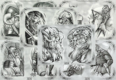 "Akos Vikings Black and Gray Tattoo Flash Set 12 Sheets 11x15"" Scandinavian"