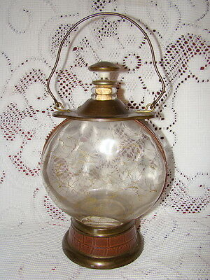 """Vintage Musical Decanter """"How Dry I Am""""  Glass And Brass Japan"""