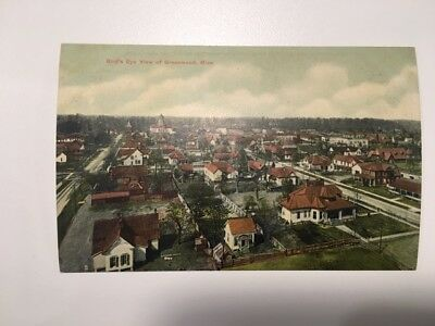 Birds eye view Greenwood Mississippi Rare Antique Leflore County MS Postcard PCK