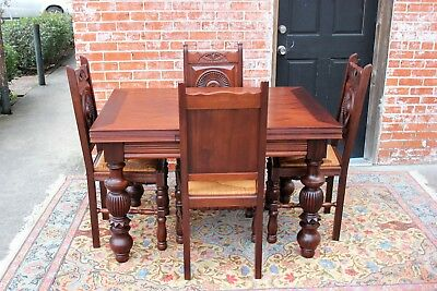 French Antique Mahogany Renaissance Dining Room Set Table & 6 Rush Seat Chairs